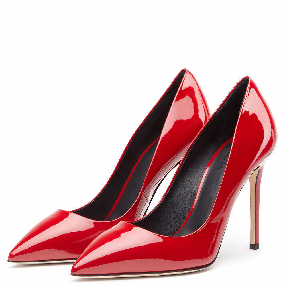 1f078d60cb Sexy Women Red High Heels 2017 Shiny Black Stiletto Gold Patent Leather  Ladies Basic Pumps Pointy Metallic Sliver Wedding Shoes