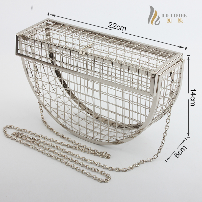 Image 2 - Women Clutch Evening Bag Metal Hollow Bag Banquet Party Shoulder Crossbody Bag Wedding Cage Bag Geometric Handbag bolsa feminina-in Top-Handle Bags from Luggage & Bags