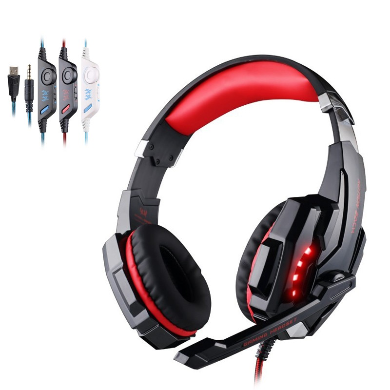 soyto sy855mv gaming headset gamer stereo headphones headband earphones with microphones led light wire control for pc desktop 10PCS EACH G9000 Headband Game Headphones Stereo Gaming Headset With Microphone LED Light For Laptop Tablet PC Gamer Earphones