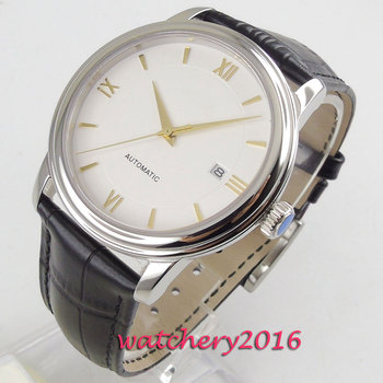 New 40mm Coutent White Sterile Dial Sapphire Glass Date Stainless steel Top Brand Luxury Miyota Automatic Mechanical Men's Watch