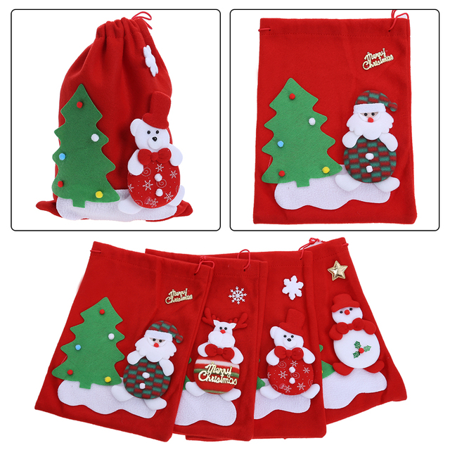 Creative Christmas Tree Pattern Santa Claus Candy Bag Handbag Home Xmas  Party Decoration Gift Bag Christmas Supplies 0453ca0e672f3