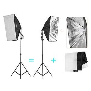 """Image 3 - Andoer fotoğraf seti 2 adet 33 """"beyaz yumuşak ışıklı şemsiye 2 adet 50*70cm Softbox ampul tutucu ile 4 adet 45W ampul vb"""