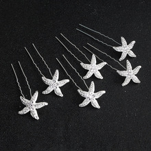 SLBRIDAL Silver Alloy Starfish Wedding Hair Pin Stickers Bridal pin piece accessories Women Jewelry
