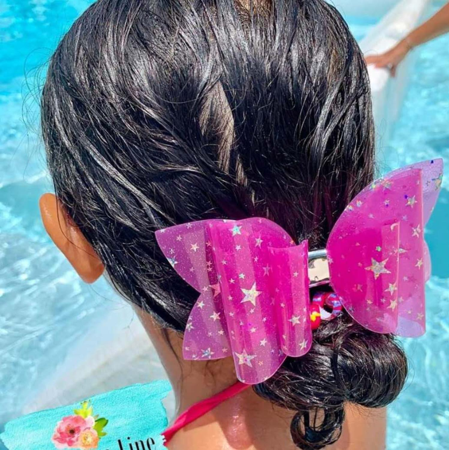 5 Inch Shinny Star Pool Bows Jelly Bows Waterproof Bows Summer Bows Waterproof You Choose Color Textured Sparklely