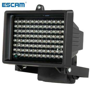 ESCAM 96 LED iluminator światła CCTV 60m IR widzenie nocne z wykorzystaniem podczerwieni oświetlenie pomocnicze zewnętrzna wodoodporna kamera monitorująca tanie i dobre opinie Kable Light CCTV DC 12V 96pcs Tempered glass panel 850nm 10~60m Auto IP65