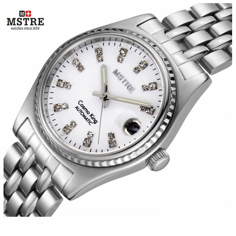 Men's Watch Automatic Self-Wind Wrist Mechanical Full MSTRE New Brand Stainless Steel Luxury Sapphire Business Man WristWatches men luxury brand casual gold full steel band skeleton automatic self wind mechanical hand wind goden relogio for man wrist watch