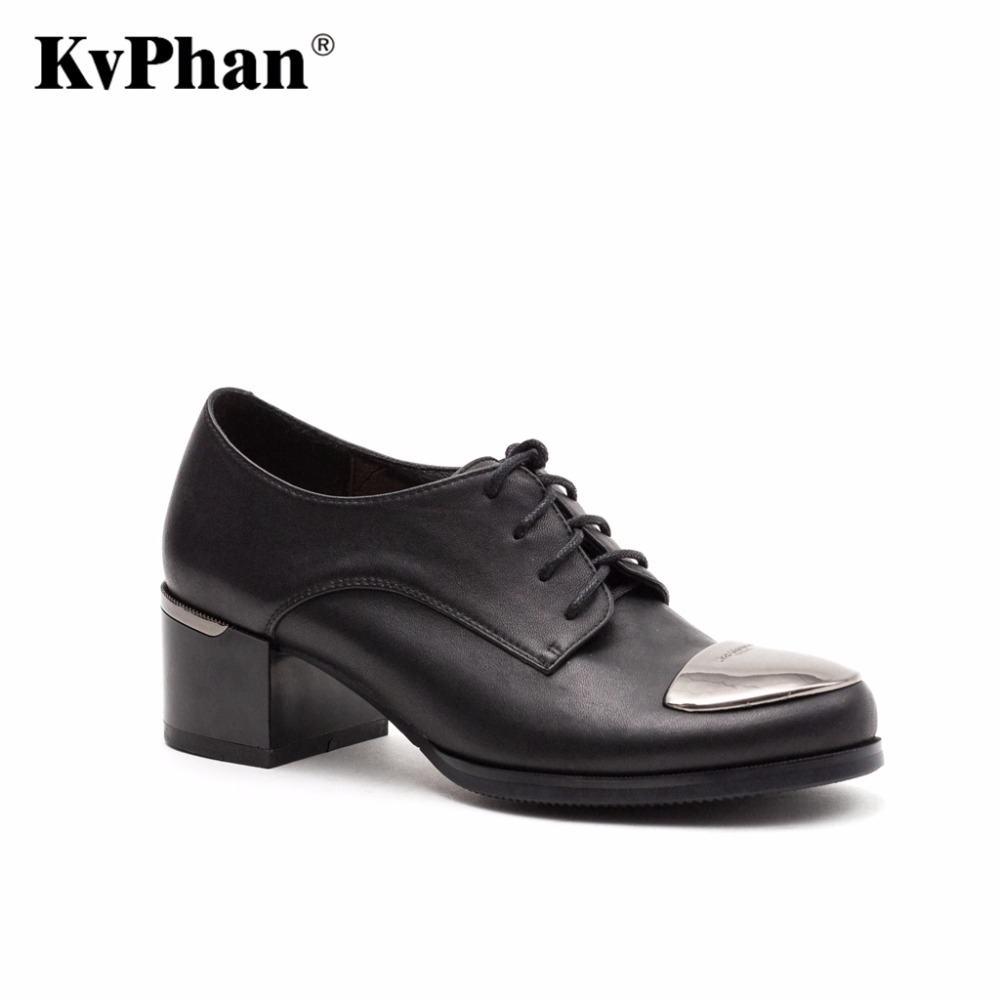 KvPhan Woman pumps Genuine patent leather Black Sheepskin Fashion Lace Up Hig heels font b shoes