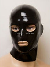 2016 New hot Sex Products Sexy Lingerie black Women Latex Hoods Eyes Mouth open Mask Customized Handmade Erotic Teddy Babydoll