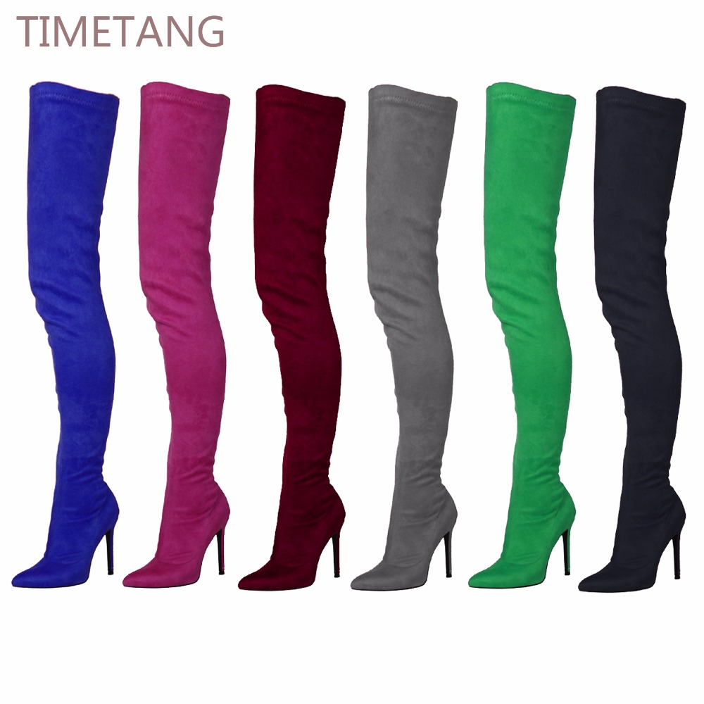 71cm Long Lady Boots Suede Elastic Boots High Heel Thigh High Boots Women's Pointed Toe Zipper Sexy Over The Knee Boots 35-44 шариковая ручка visconti divina elegance over 265 71 коричневая смола сер 925 vs 265 71
