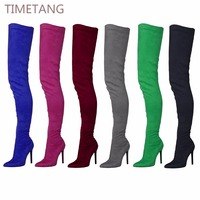 71cm Long Lady Boots Suede Elastic Boots High Heel Thigh High Boots Women's Pointed Toe Zipper Sexy Over The Knee Boots 35 44