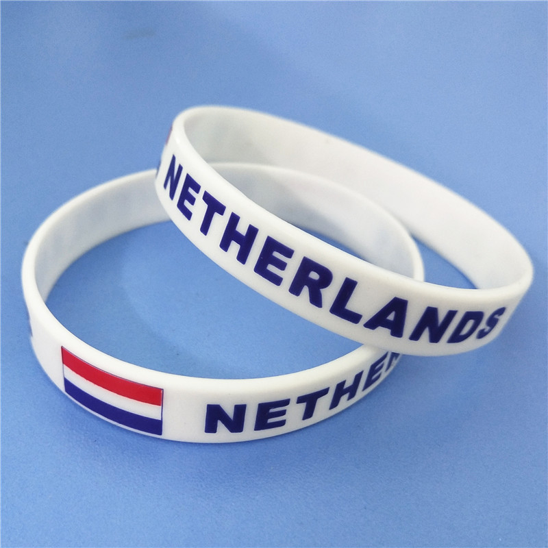 1PC Netherlands Flag Silicone Wristband White Nederlands Football Sports Souvenir Silicone Rubber Bracelets&Bangles Gifts SH223 4