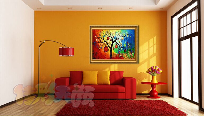 Living Room Painting By Numbers Lucky Tree Hand Painted Canvas Oil Paintings Home Decor 4050cm G345 In Calligraphy From Garden On