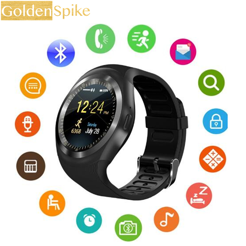 Y1 Smartwatch Bluetooth Smart Watch Reloj Relogio 2G GSM SIM App Sync Mp3 for Apple iPhone Xiaomi Android Phones PK DZ09 KW18 meanit m5