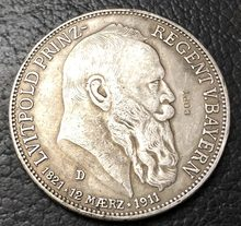1911-D Kingdom of Bavaria 5 Mark-Otto Silver Plated Copy Coin(China)
