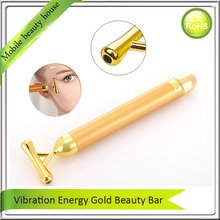 Face Toning And Lifting Tightening Firming Slimming Y Shape Vibration Facial Stick Roller Massager 24K Gold Energy Beauty Bar