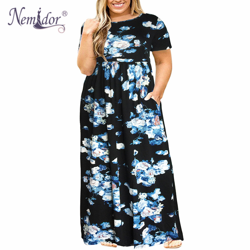 Nemidor 2018 Hot Sales Women O-neck Short Sleeve Long Summer Casual Dress Plus Size 7XL 8XL 9XL Vintage Maxi Dress With Pockets  2