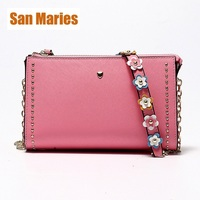 San Maries Women Genuine Leather Shoulder Bag with Flower Strip and Chain Retro Female Small Messenger Bag Famous Clutch Bolsa