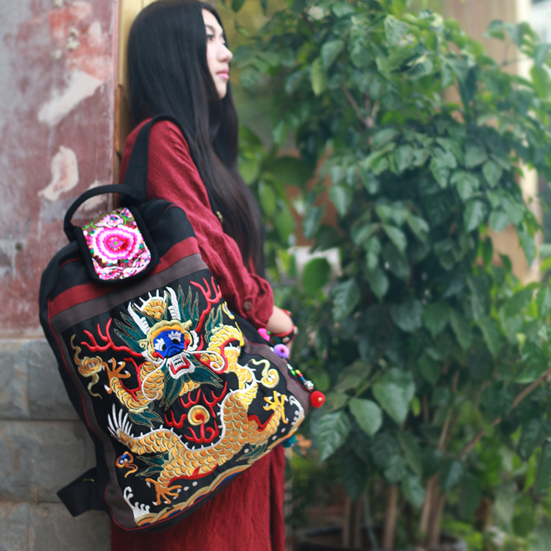 Ethnic embroidered Unisex backpack Fashion dragon pattern canvas casual travel backpack Vintage big size backpack