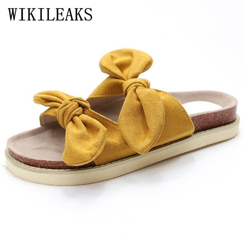 2018 дизайнерские Бабочка-узел Дамские тапочки обувь модные шлепанцы Женская обувь pantufas люксовый бренд Пляжные тапочки Гавайский