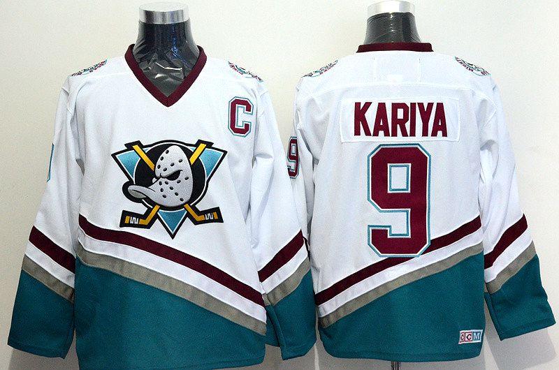 Ediwallen Hommes 9 Paul Kariya Hockey Maillots Ice Mighty Ducks d'anaheim Jersey Pour Les Fans de Sport Vert Rouge Blanc Violet Équipe loin