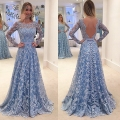 Rose moda de mangas compridas laço azul prom dress com as costas abertas formal andar de comprimento party dress custom made real fotos
