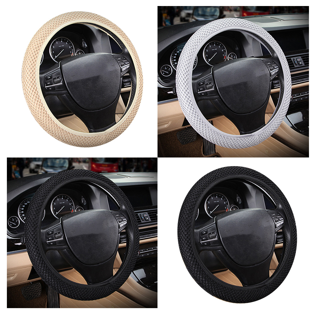 Dewtreetali Universal Car Steering Wheel Cover Breathable Sandwich Fabric Steering Wheel Protector Four Seasons Car Styling