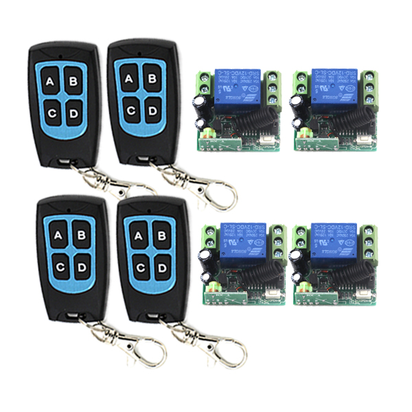 MITI-1 Set DC 12v 10A relay 1CH wireless RF Remote Control Switch 4 Transmitter+ 4 Receiver with Case Free shipping SKU: 5413 contrast lace applique t shirt