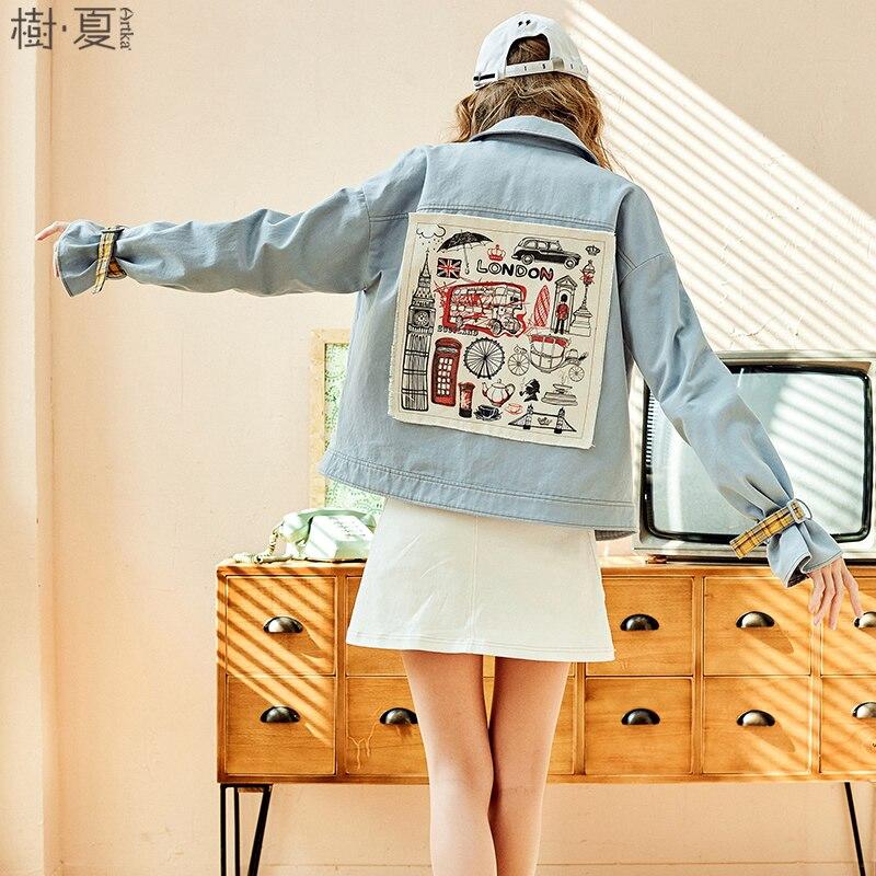 ARTKA 2018 Spring New Appliques Light Blue Denim Jacket Loose Full Flare Sleeve Female Short Drop