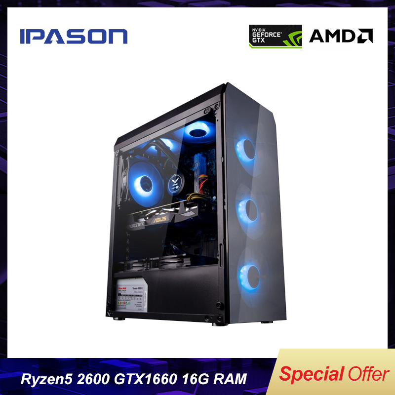 6-Core Gaming PC IPASON AMD Ryzen5 2600/DDR4 16G RAM/1T+120GSSD Dedicated Card GXT1660 6G PUBG Gamers Win10 Barebone Desktop PC