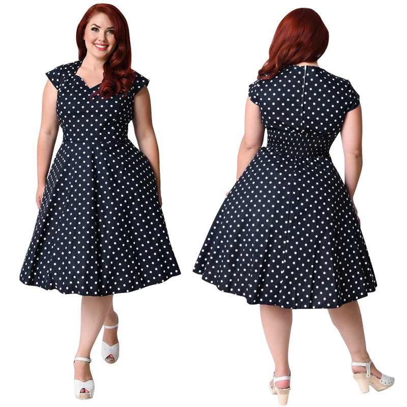 US $22.18 45% OFF|7XL Plus Size Vintage 50s 60s Swing Rockabilly Polka Dot  Printed Tunic Pin Up Dress Robe Plus Size Dresses For Women 4XL 5XL 6XL-in  ...