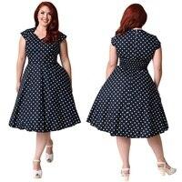 7XL Plus Size Vintage 50s 60s Swing Rockabilly Polka Dot Printed Tunic Pin Up Dress Robe Plus Size Dresses For Women 4XL 5XL 6XL