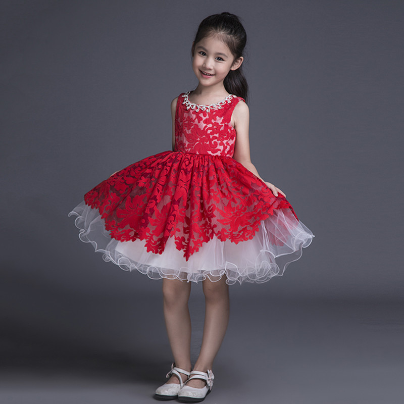Red Lace Kids Ball Gown Little Girls Pageant Dress Short Puffy