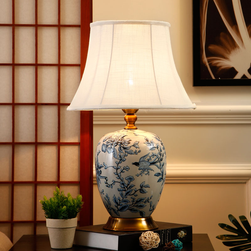 Lampes de table en céramique bleues et blanches à haute température pour la maison