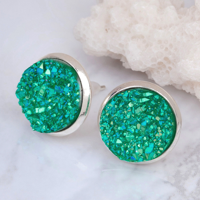 Doreen Box Copper Post Stud Earrings Round Silver Plated Green AB Color W/ Stoppers 16mm x 14mm 2017 new