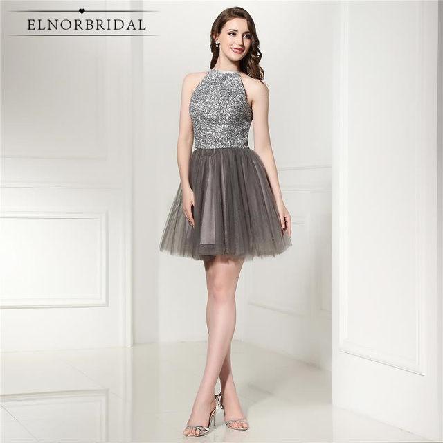 Online Shop Luxury Grey Short Prom Dresses 2018 Beading Tulle ...