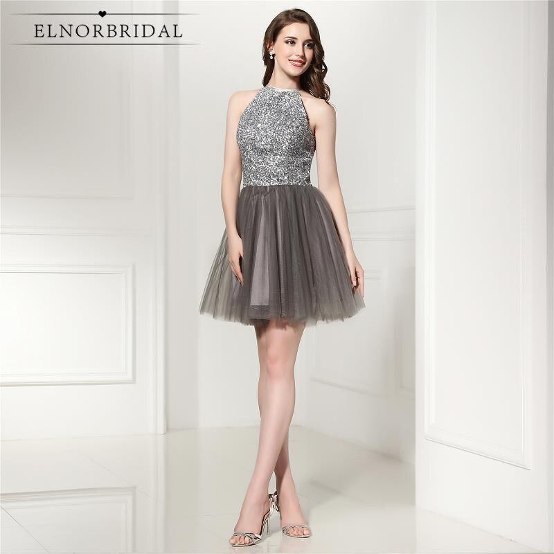 Luxury Grey Short   Prom     Dresses   2019 Beading Tulle Vestido De Festa Curto A Line Mini Formal Cocktail Party   Dress
