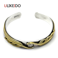 Pure 925 Sterling Silver Bangle Feather Adjusted Vintage Hand Chain For Men And Women Special Japan