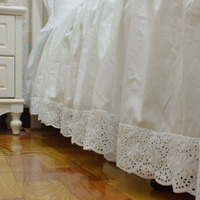 White 100%cotton satin embroidered with bed surface one piece bed skirt kick pleat покрывало bedroom bed apron free shipping