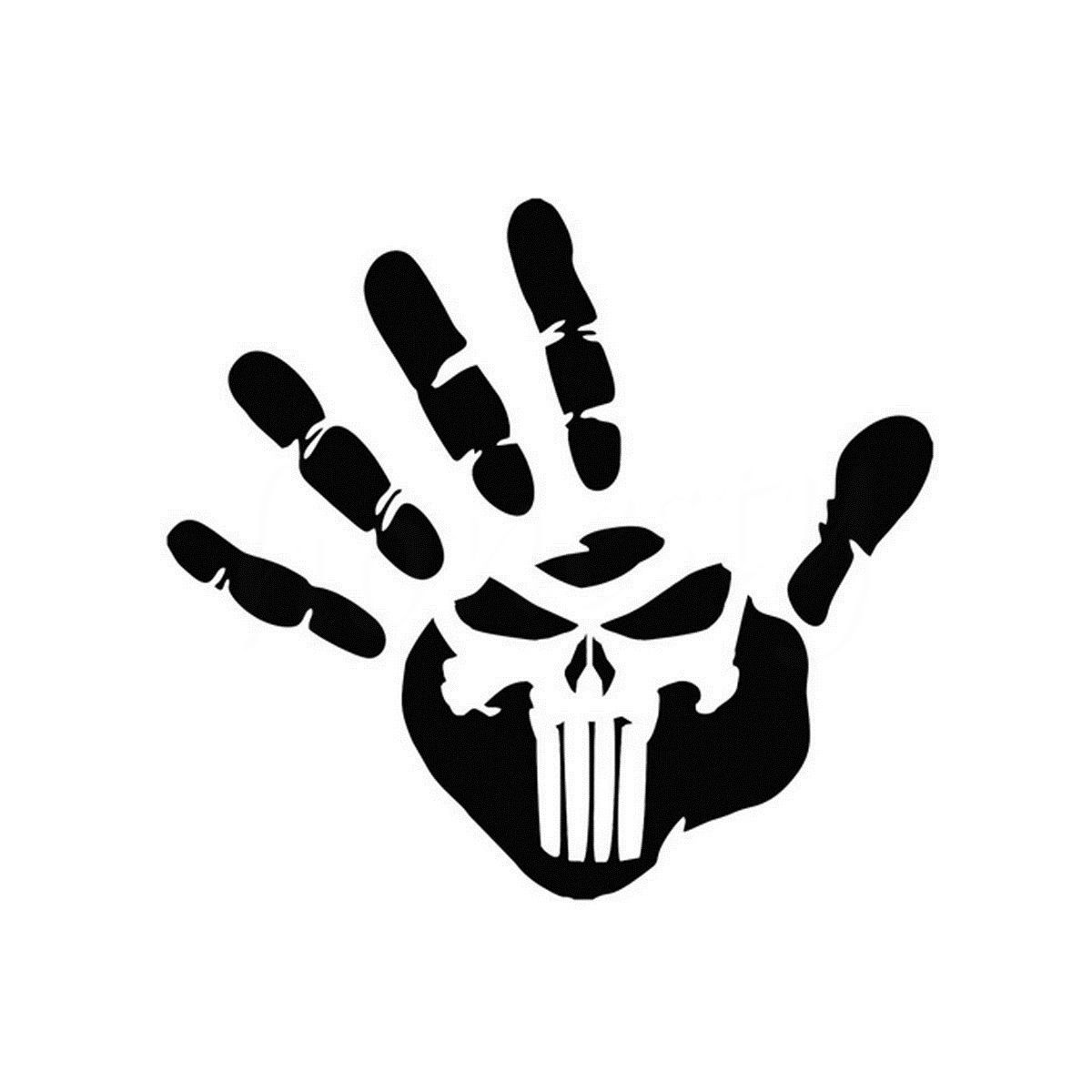 Creative Palm Print Punisher Skull Car Motorcycle Stickers