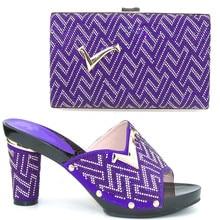 TH16 52 2016 Purple Fashion Italian Matching Shoe And Bag Set With Rhinestone Upscale African High