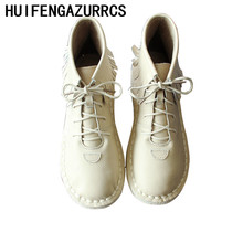 HUIFENGAZURRCS-2018 new handmade original women's shoes, genuine leather flat bottom Casual Short boots,fringed ankle boots