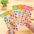 3 Sheets/Lot Children's DIY Cartoon Animation Fruits Stickers Notebook Album Reward Sticker 3D Bubble Sticker Gift Kids Toys