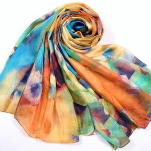 Image 5 - 2016 zima moda damska szalik gorąca sprzedaż jedwab szale szal kobiet długi jedwabny szal niebieski i kawy 180*110cm