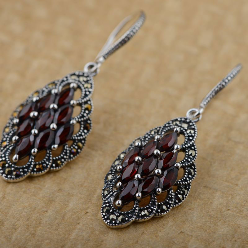 Red Zircon Statement Earring for Women S925 Silver boucle d'oreille Tassel Red Stone 925 Sterling Silver Drop Earrings pair of stylish red tassel drop earrings for women
