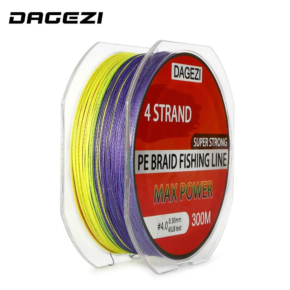 Sports & Entertainment Dagezi Super Strong 4 Strand 300m 100% Pe Braided Fishing Line 10-80lb 10m/color Multifilament Colorful Fishing Lines Pesca