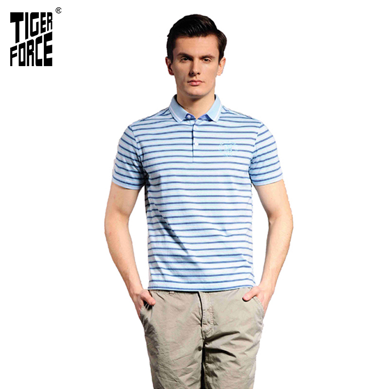 TIGER FORCE Clearance Men   Polo   Shirt Striped Breathable Fashion   Polo   Shirt Business Casual Cotton   Polo   Shirts Summer Tops