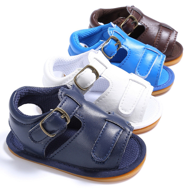 Hongteya summer handmade pu leather toddler hard rubber sole baby moccasins shoes baby boys sandals baby solid sandals