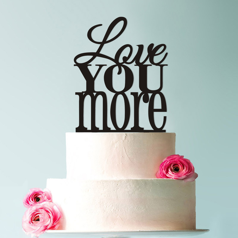 Love You More Mother 39 s Day Topper Custom Romantic Wedding Cake Decoration in your Choice of Color Modern and Elegant Cake Topper in Cake Decorating Supplies from Home amp Garden
