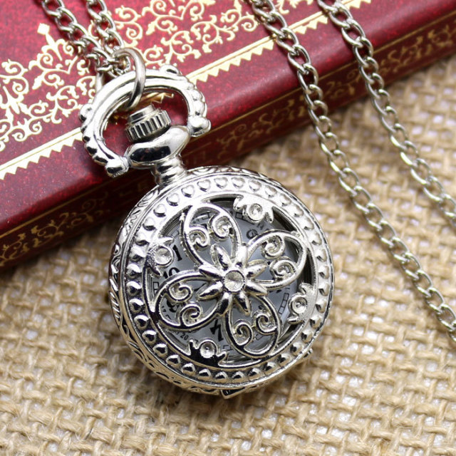 Beautiful Bow-Knot Rosette Hollow Vintage Silver Pocket Watch Gift for Men and W