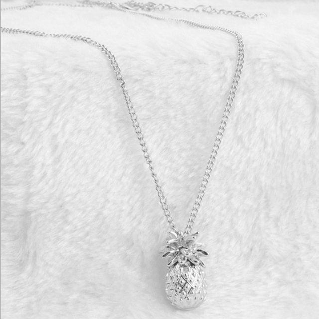 Vintage pineapple necklace silver gold color long chain fruit vintage pineapple necklace silver gold color long chain fruit necklaces pendants fashion jewellery femme women mozeypictures Images